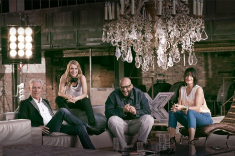 Die X Factor Jury 2012 (v.l.): H.P. Baxxter, Sandra Nasic, Moses Pelham und Sarah Connor.