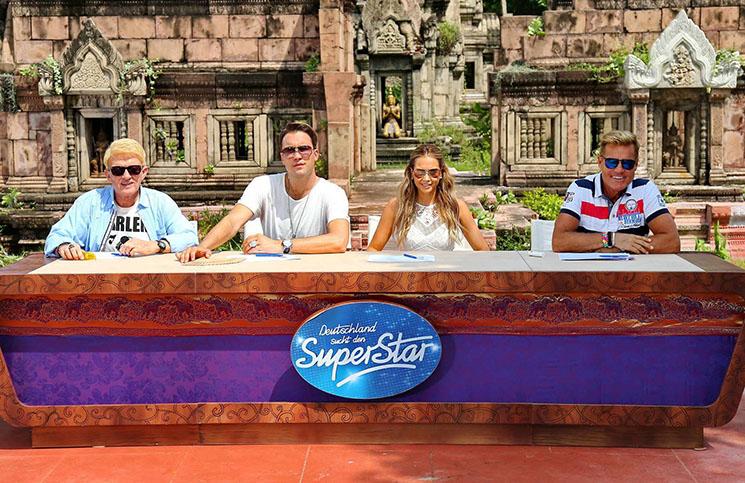 DSDS 2015 - Die Jurymitglieder (v.l.) Heino, DJ Antoine, Mandy Capristo und Dieter Bohlen in Thailand