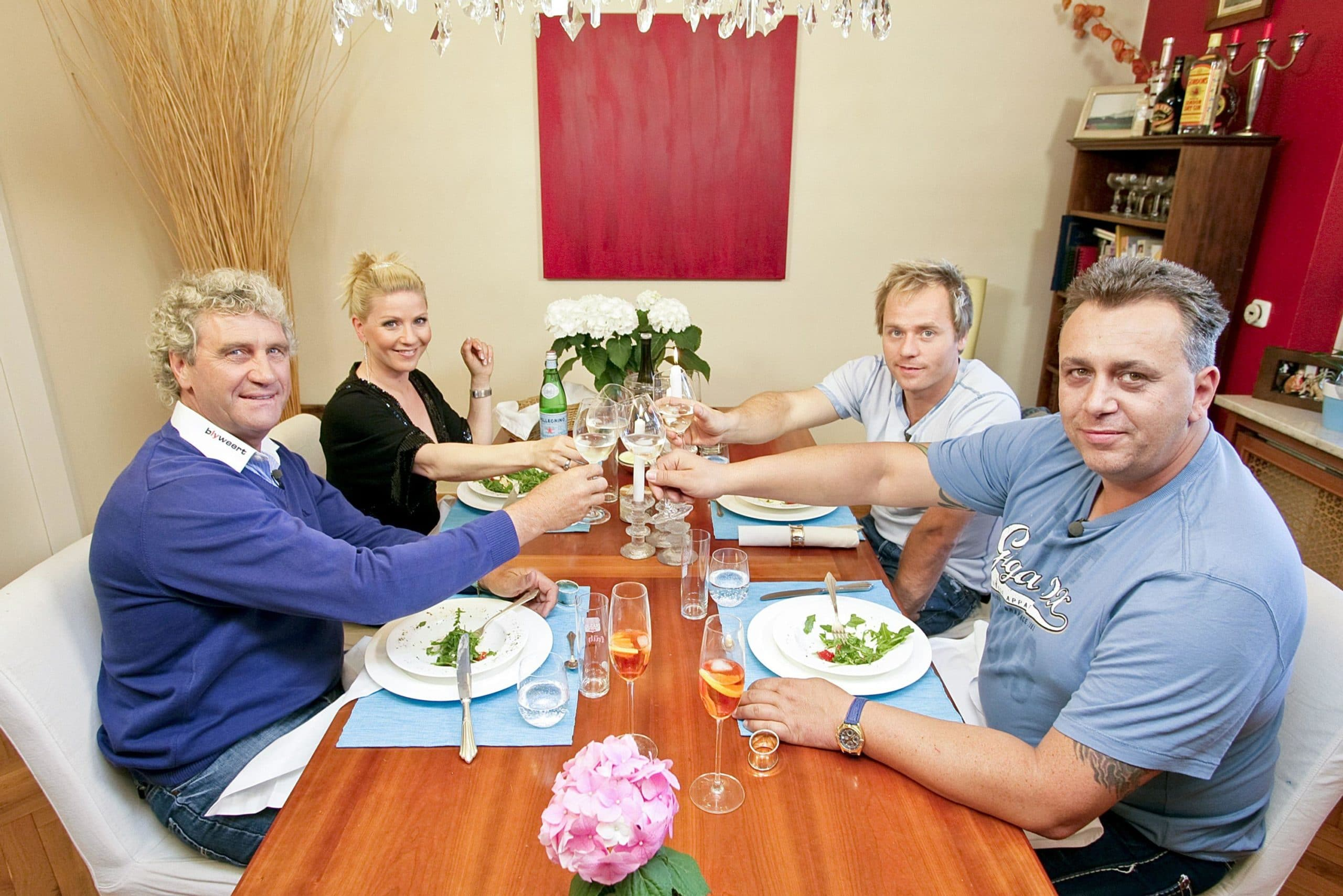 Jean-Marie Pfaff, Gastgeberin Aleksandra Bechtel, Dustin Semmelrogge und Frank Fussbroich
