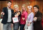 V.l.: Jochen Schropp, Claudia Effenberg, Antonia Langsdorf, Oliver Wnuk, Enie van de Meiklokjes