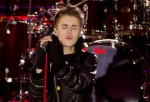 Justin Bieber Pre-Tapes Rockefeller Center Christmas Tree Lighting Special with Guests Usher and Busta Rhymes in New York City on November 23, 2011