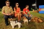 Paul Panzer (li.) mit Malteser Timmi, Werbeikone Verona Pooth mit der französischen Bulldogge Rosi und TV-Koch Steffen Henssler dem Schäferhund-Mix Shadan
