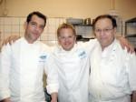 Die Küchenchefs: Martin Baudrexel und Mario Kotaska mit Vittorio Rigolo