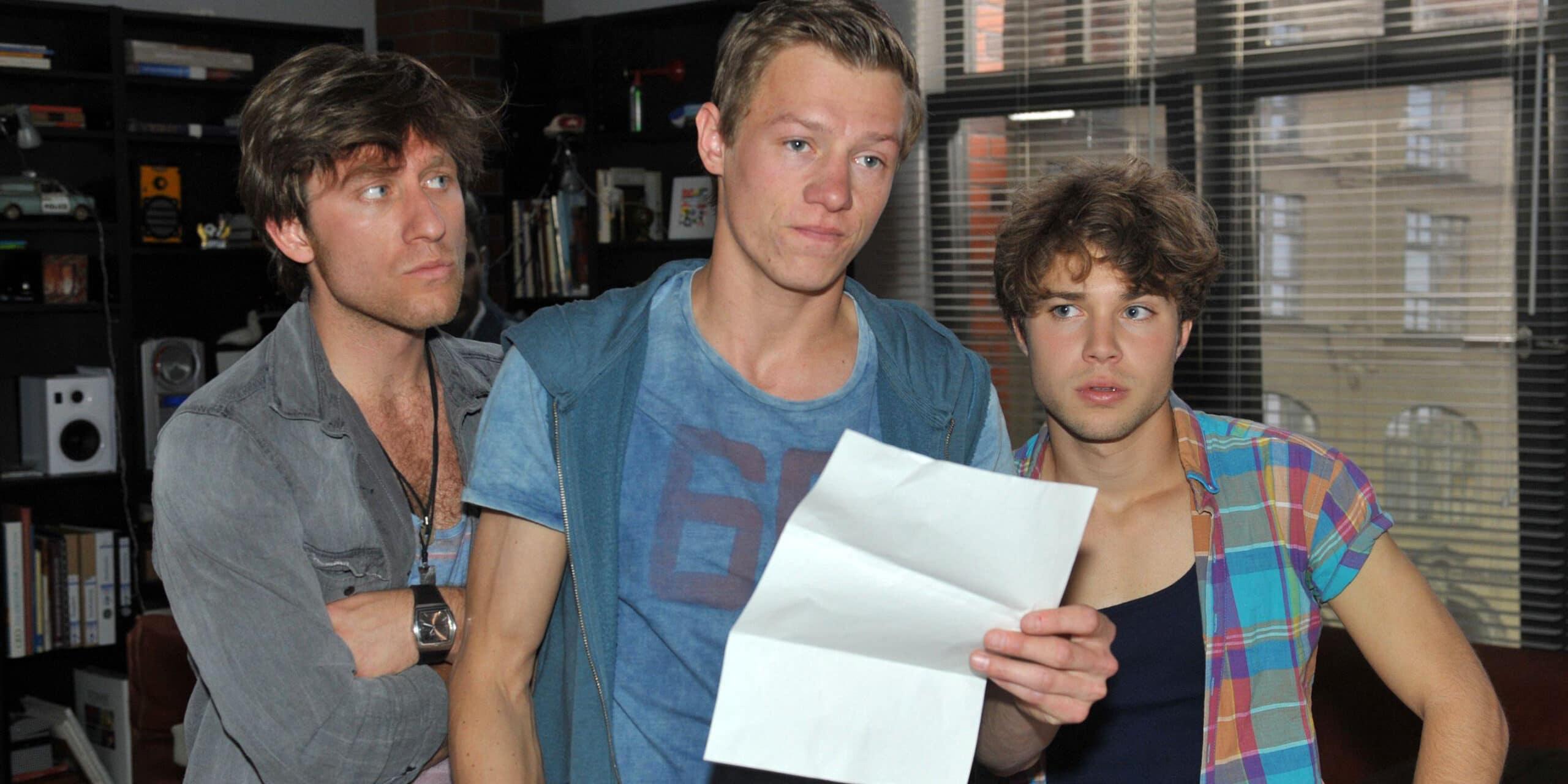 Bommel (Merlin Leonhardt, l.), Vince (Vincent Krüger, M.) und Zac (Jascha Rust)