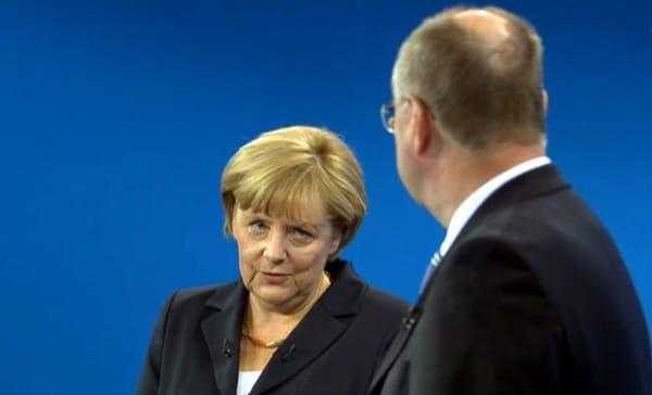 Angela Merkel und Peer Steinbrück beim TV-Duell, über dts Nachrichtenagentur
