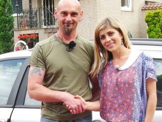 Peter Pfister (46) übergibt seine Rostlaube an Panagiota Petridou