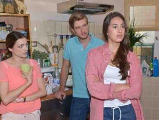 Emily (Anne Menden, l.), Philip (Jörn Schlönvoigt) und Elena (Elena Garcia Gerlach) bei GZSZ
