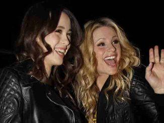 Michelle Hunziker and Aurora Ramazzotti at the Versace Parade in Milan fashion week