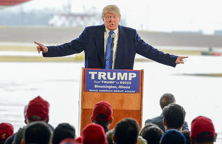 Donald Trump Campaign Stop at an Airport Hangar in Bloomington on March 13, 2016