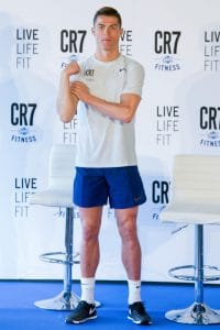 Cristiano Ronaldo - Real Madrid's Portuguese Forward Cristiano Ronaldo Presents CR7 Fitness Gyms in Madrid on March 13, 2017