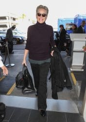 Sharon Stone Sighted at LAX Airport in Los Angeles on January 12, 2018