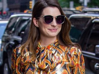 "Anne Hathaway Sighted Arriving at ""The Late Show with Stephen Colbert"" on May 23, 2018"