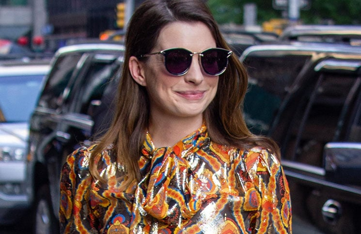 """Anne Hathaway Sighted Arriving at """"The Late Show with Stephen Colbert"""" on May 23, 2018"""