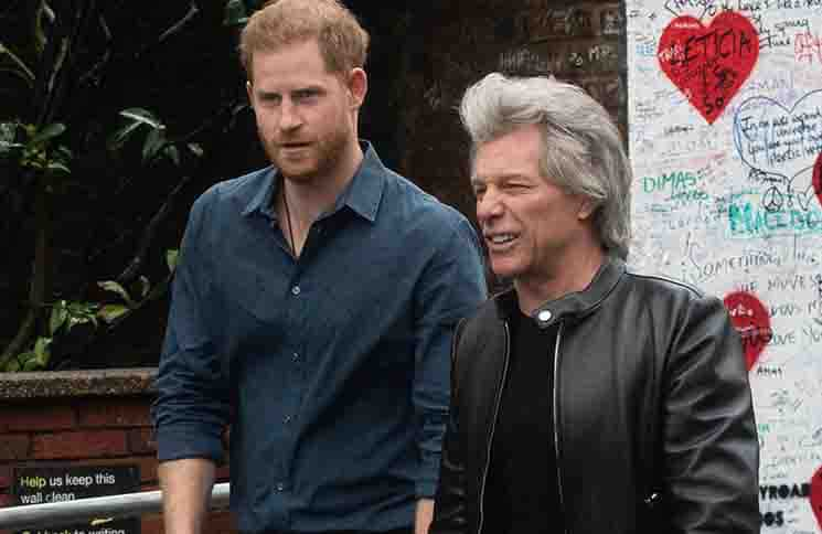 Prince Harry leaves Abbey Road Studios with Musician Jon Bon Jovi to pose on the Abbey Road Crossing