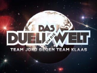 """Logo """"Das Duell um die Welt - Team Joko gegen Team Klaas""""."""