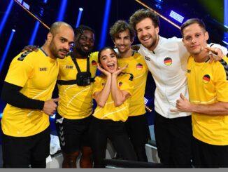 Teamkapitän Luke Mockridge (2.v.r.) mit Team Deutschland