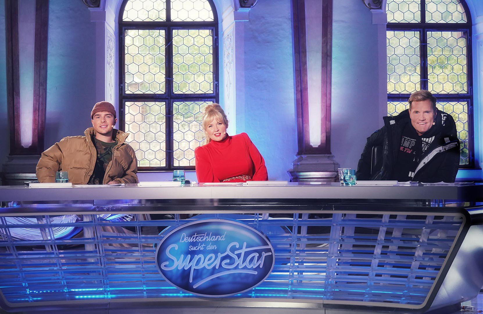Die Jury (v.l.) Mike Singer, Maite Kelly und Dieter Bohlen Deutschland sucht den Superstar