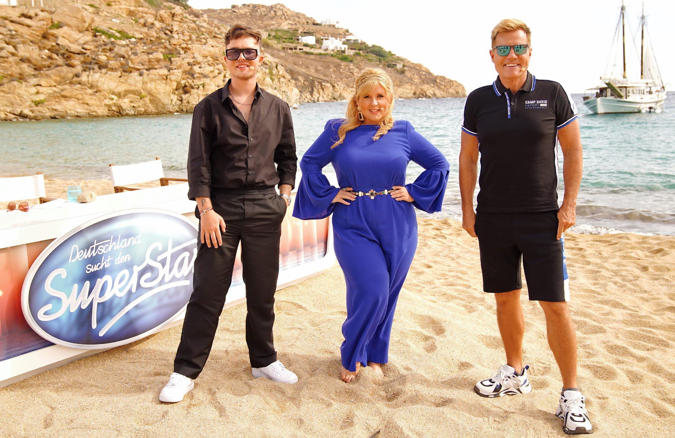 Mike Singer (l.), Maite Kelly und Dieter Bohlen - Deutschland sucht den Superstar