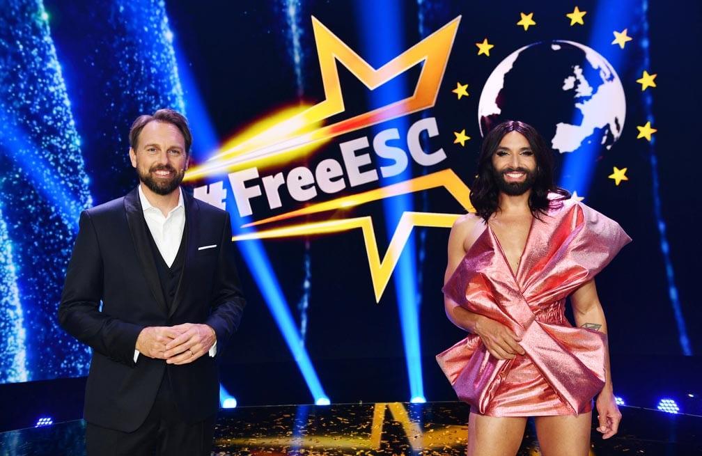 Steven Gätjen und Conchita Wurst hosten den #FreeESC.