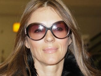 Elizabeth Hurley Sighted Arriving at Heathrow Airport